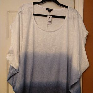 Blue Ombre Short Sleeve Blouse 3X